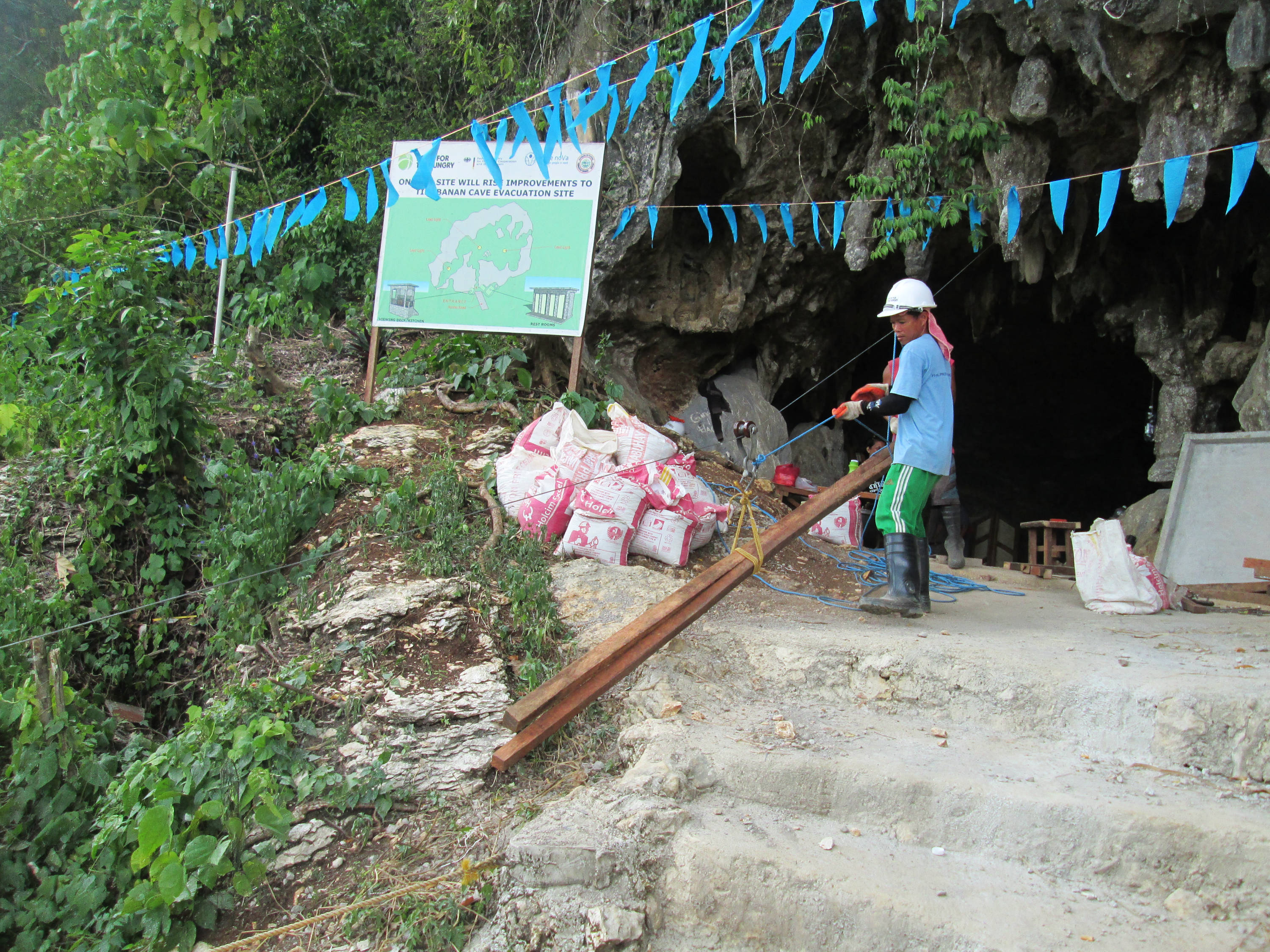 Delivery of construction materials at Tinabanan Cave
