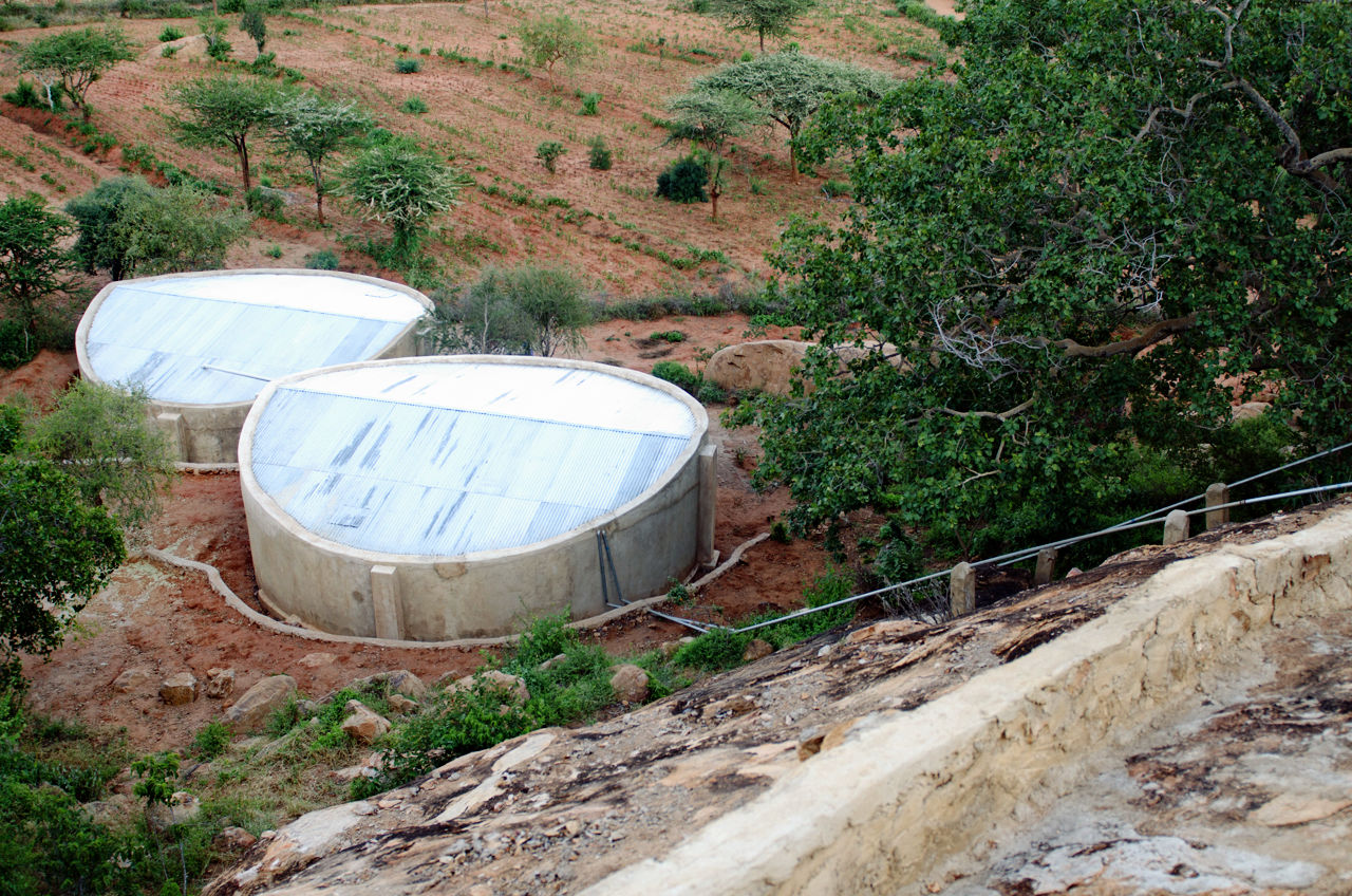 Water tanks bellow rock catchment.