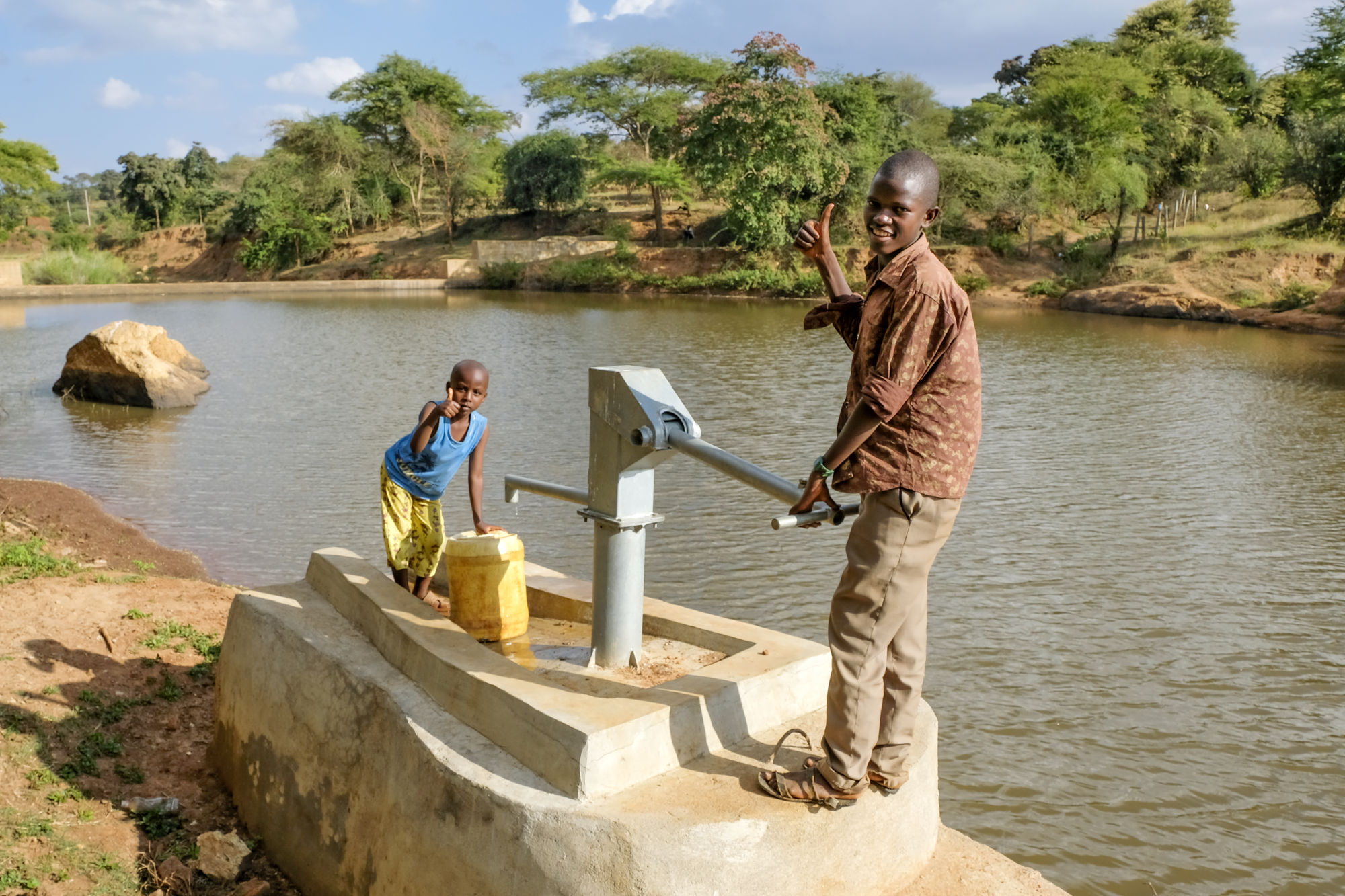 Hand pump near to sand dam