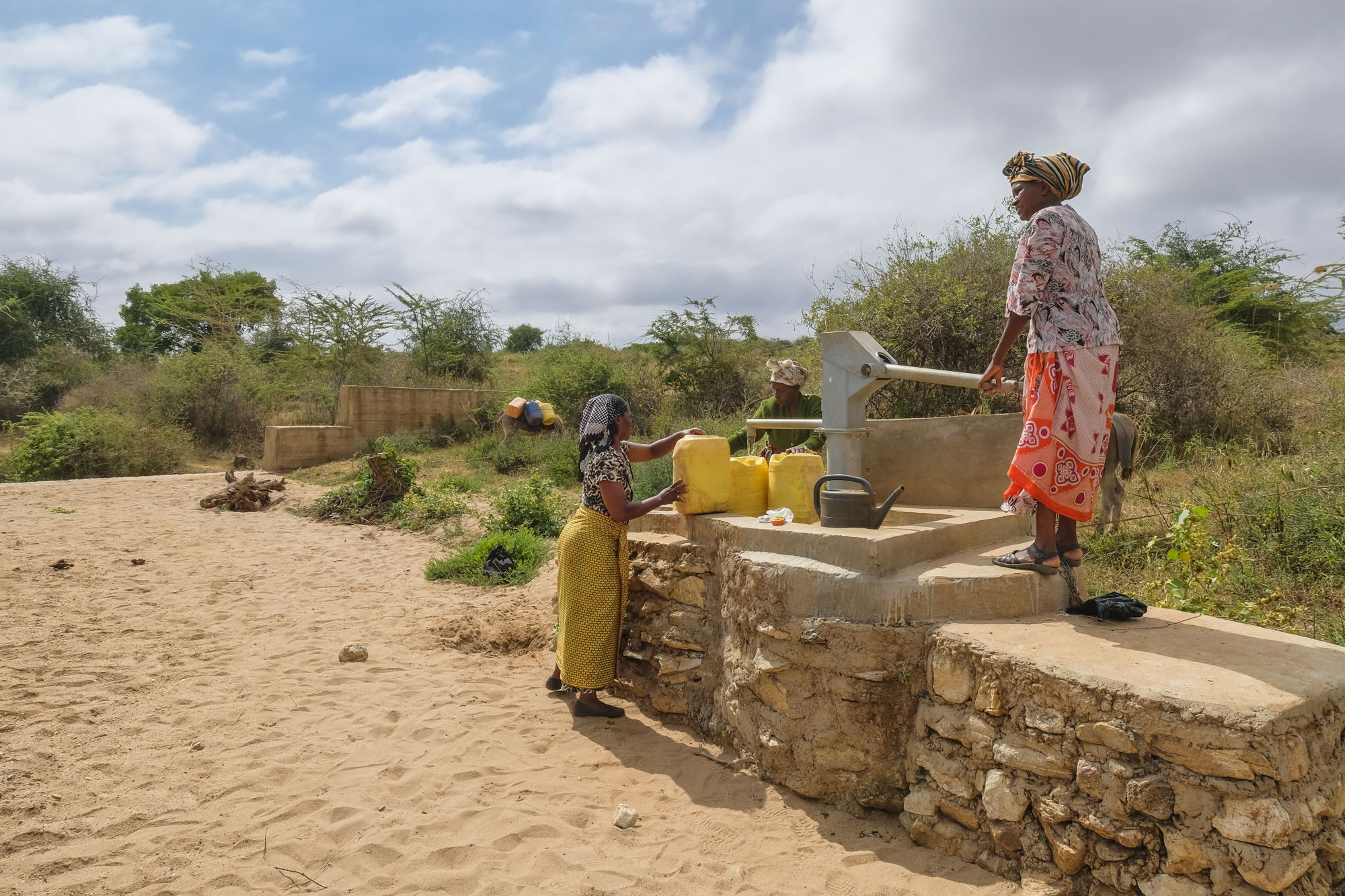 Hand pump at self help group's sand dam