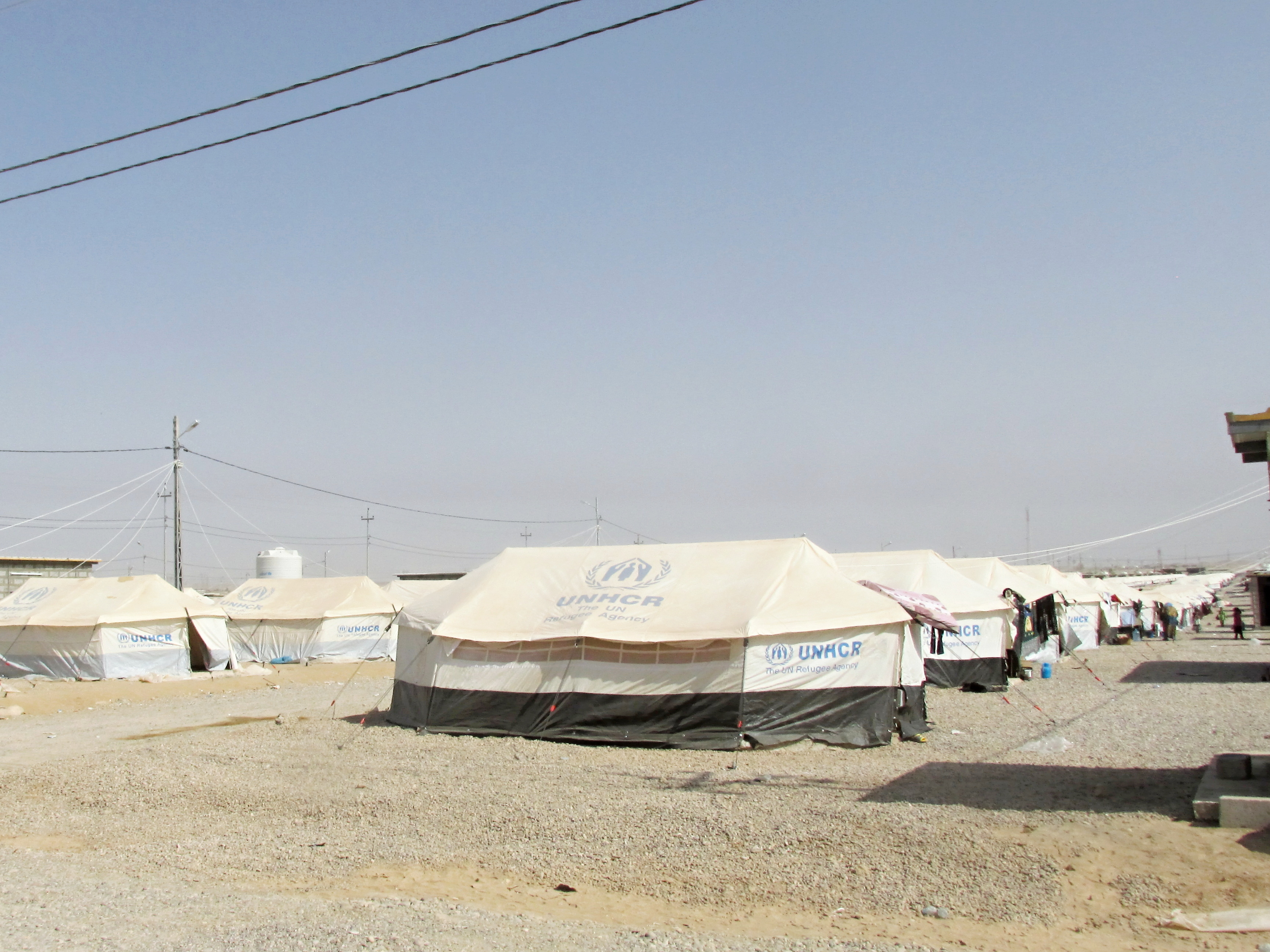 Makeshift shelter for displaced families in Qoratou, North Iraq