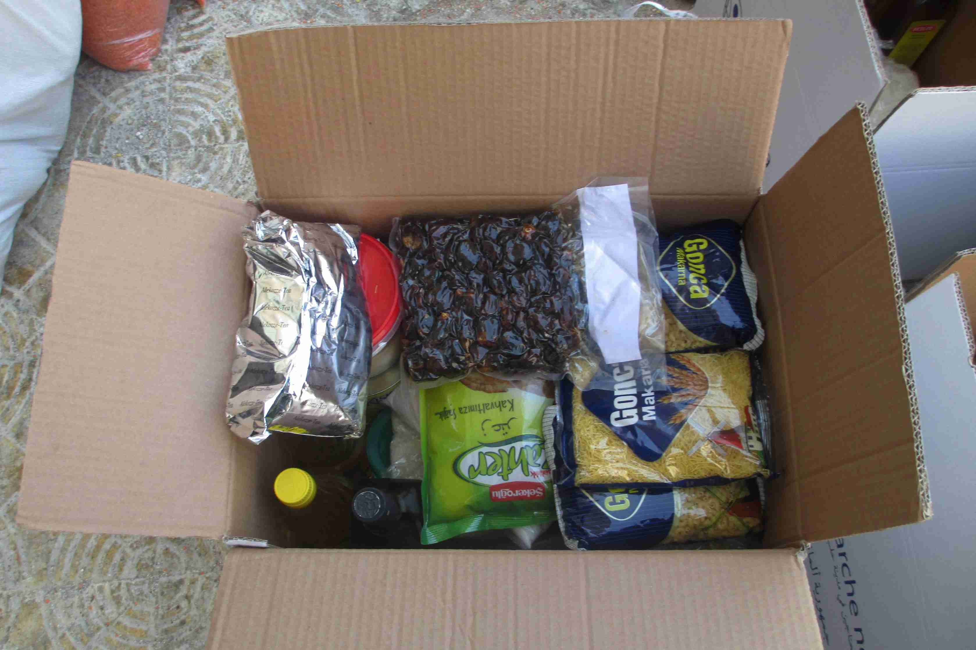 View into a food parcel