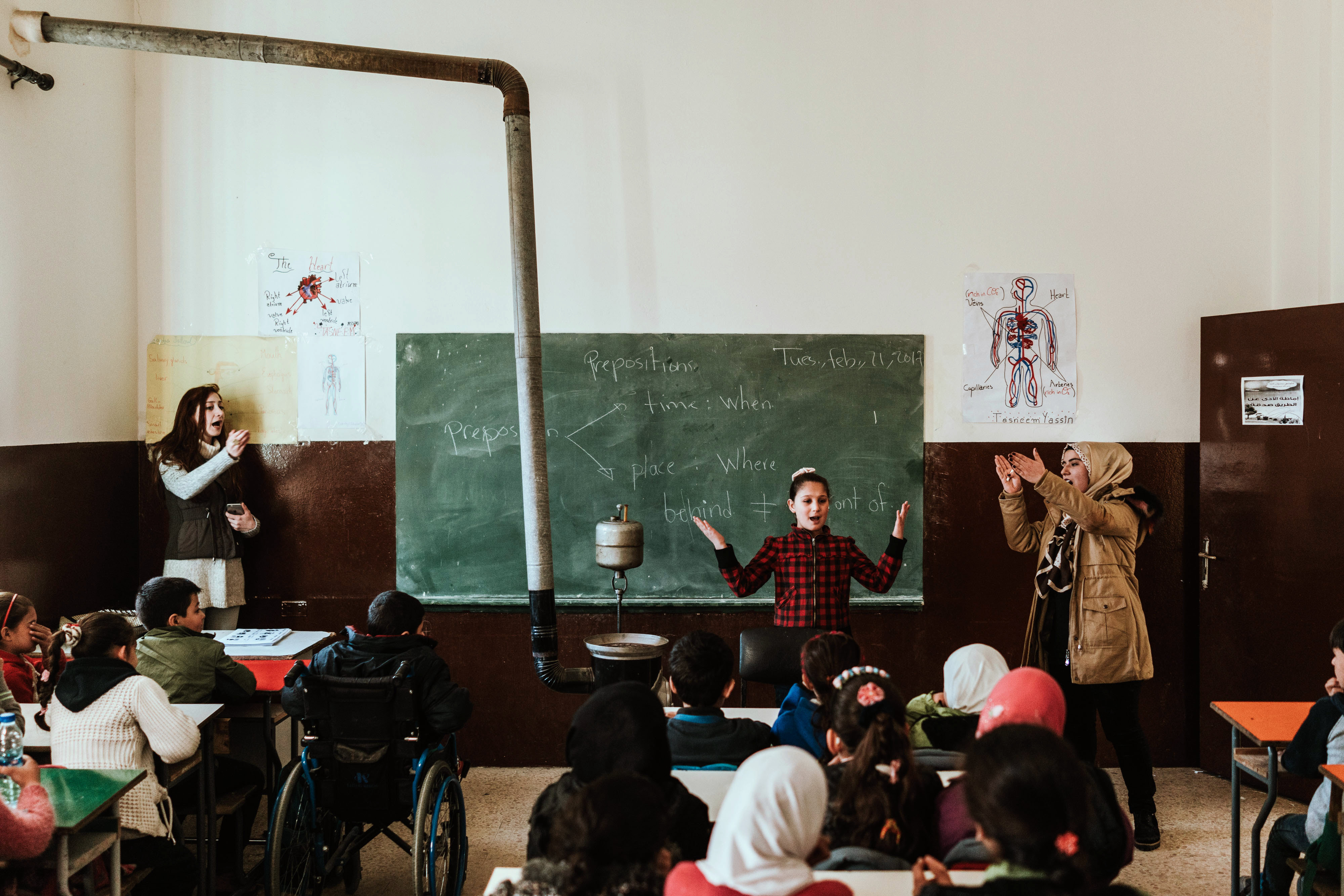 Syrian children in rehabilitated school in Lebanon